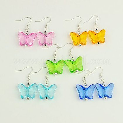 Dangle Transparent Acrylic Butterfly Earrings EJEW-JE00753-1