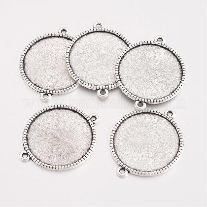 Tibetan Style Alloy Flat Round Cabochon Connector SettingsTIBE-Q038-001G-AS-RS-1