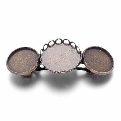 Cabochon bases pasador de pelo de bronce de épocaX-KK-M020-AB-NR-1