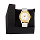 V Day Gifts High Quality Stainless Steel Leather Diamond-studded Quartz WatchesWACH-N003-06-4