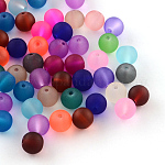 Abalorios de vidrio esmerilado transparente, redondo, color mezclado, 8x7mm, agujero: 1 mm; aproximamente 100 unidades / bolsa