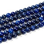 Natural Lapis Lazuli Beads Strands, Dyed, Round, Blue, 8mm, Hole: 1mm, about 22~24pcs/strand, 7.6 inches