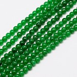 Natural Malaysia Jade Bead Strands, Round Dyed Beads, Green, 8mm, Hole: 1mm; about 48pcs/strand, 15