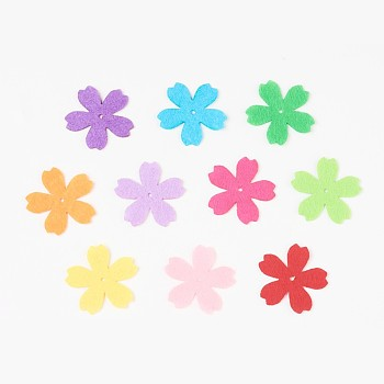 Sakura Non Woven Fabric Embroidery Needle Felt for DIY Crafts, Mixed Color, 34x34x0.8mm, Hole: 2mm; about 40pcs/bag