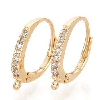 Brass Cubic Zirconia Huggie Hoop Earring Findings, with Loop, Clear, Nickel Free, Real 18K Gold Plated, 17x14x2mm, Hole: 1mm; Pin: 0.7mm