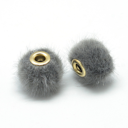 Handmade Faux Mink Fur European BeadsX-OPDL-S089-02A-1