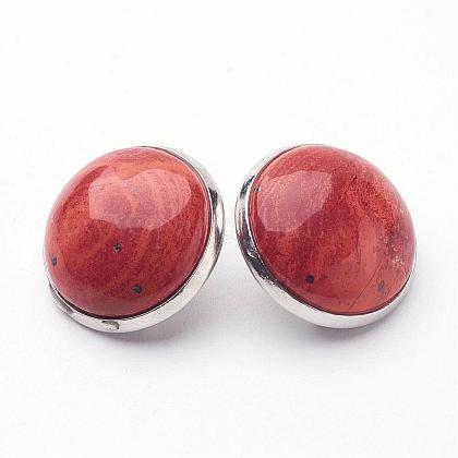 Natural Red Jasper Brass Clip-on Earrings EJEW-A051-A011-1