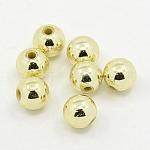 Chapado abalorios de plástico redondos de acrílico, luz de oro chapado, 3mm, agujero: 1 mm; aproximamente 33000 unidades / libra