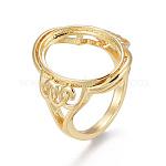 Componentes del anillo de dedo de cobre amarillo, bases de anillo de almohadilla de garra, oval, dorado, tamaño de 9, 19 mm, bandeja: 18x13.5 mm