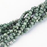 Perles en pierres gemme, tache verte jasper, ronde, environ 6 mm de diamètre, trou: environ 0.8 mm, 15~16