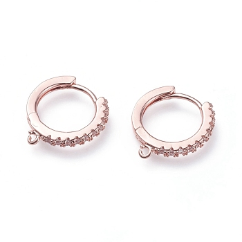 Brass Micro Pave Cubic Zirconia Huggie Hoop Earring Findings, with Loops, Ring, Clear, Rose Gold, 15.5x14.5x2mm, Hole: 1mm; pin: 0.9mm