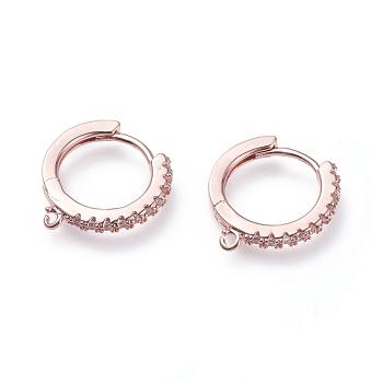 Latón micro pavimentar circonio cúbico huggie aro pendiente fornituras, con bucles, anillo, Claro, oro rosa, 15.5x14.5x2mm, agujero: 1 mm; pin: 0.9 mm