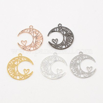 Brass Pendants, Etched Metal Embellishments, Moon, Mixed Color, 16x13x0.5mm, Hole: 1mm X-KKC-F001-14