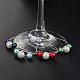 Glass Pearl Beads Wine Glass CharmsAJEW-JO00036-1