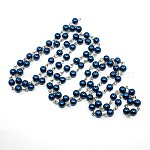 Handmade Glass Pearl Beads Chains, with Iron Eye Pin, Unwelded, Platinum, DarkBlue, 6mm; about 1m/strand, 39.3