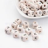 100PCS Natural Wood Beads, Cube with Letter, 10mm long, 10mm thick, hole: 3mm