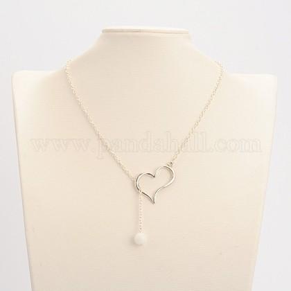 Natural Rose collares lariat cuarzo corazón de la aleaciónNJEW-JN01009-05-1