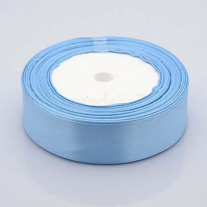 1inches(25mm) Light Blue Satin Ribbon for Hairbow DIY Party DecorationX-RC25mmY065-1