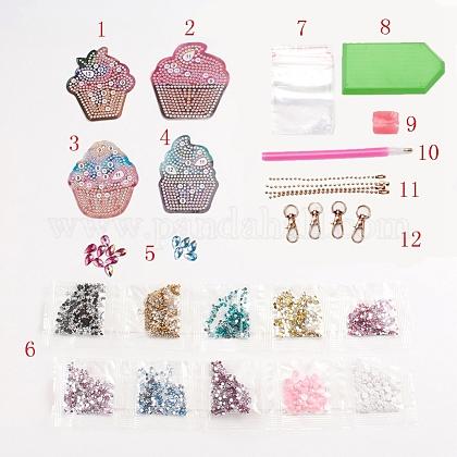 ケーキ型diy 5dダイヤモンド塗装キーホルダーDIY-WH0161-94-1