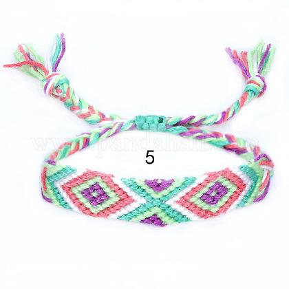 Ajustable Cotton Braided Cord BraceletsBJEW-E341-51E-1
