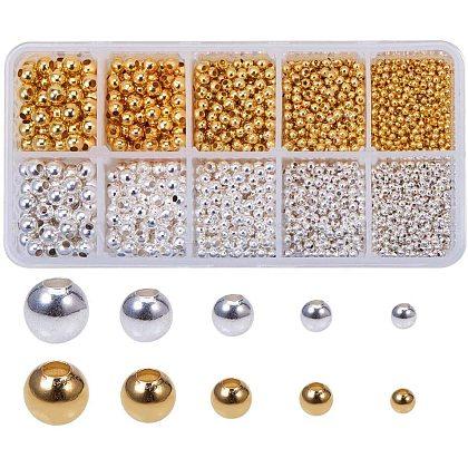 Pandahall 1 коробка (около 2340 шт.) 2 цвета 5 размера гладкие круглые металлические бусины крошечные распорные круглые бусины для изготовления ювелирных изделий (золотыеKK-PH0034-85-1
