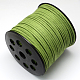 Environmental Faux Suede Cord, Faux Suede Lace, YellowGreen, 3.0x1.4mm; about 90m/roll