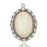 Alloy Cat Eye Pendants, Oval, Seashell Color, Antique Silver, 39x28x6mm, Hole: 2mm