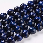 Natural Blue Tiger Eye Beads Strands, Dyed & Heated, Round, Midnight Blue, 10mm, Hole: 1mm, about 19pcs/strand, 7.8inches