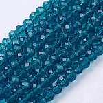 手作りガラスビーズ, ファセットロンデル, ダークシアン, 6x4mm, 穴:1mm、約90~93個/連