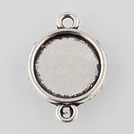 Tibetan Style Alloy Cabochon Connector Settings, Plain Edge Bezel Cups, Flat Round, Antique Silver, Tray: 12mm; 21x15x2mm, Hole: 2mm