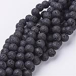 Natural Lava Beads Strands, Round, Black, 8mm, Hole: 1mm