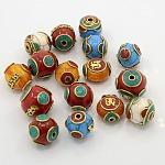 混合手作りチベット風のビーズ, ミツロウ付きの真鍮パーツ, 合成ターコイズとサンゴ, ミックスカラー, 16~20x17~21x17~21mm, 穴:2~3mm
