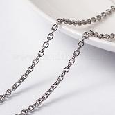 Chaînes de câbles 304 en acier inoxydable avec placage sous vide, non soudée, avec bobine, ovale, couleur inoxydable, 3x2x0.6 mm; environ 10 m/rouleau