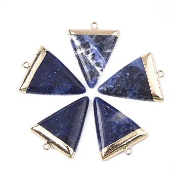 Гальванические подвески из натурального содалита, с железной фурнитурой, треугольные, золотые, 30~34x23x5~5.5 мм, отверстие : 1.6 мм