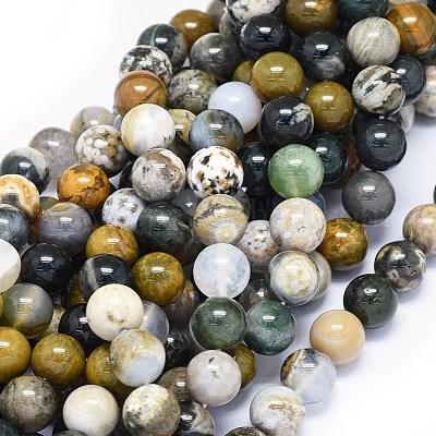 30x30x3mm,10.3g-h1837 Natural Ocean Jasper Round Earrings Beads
