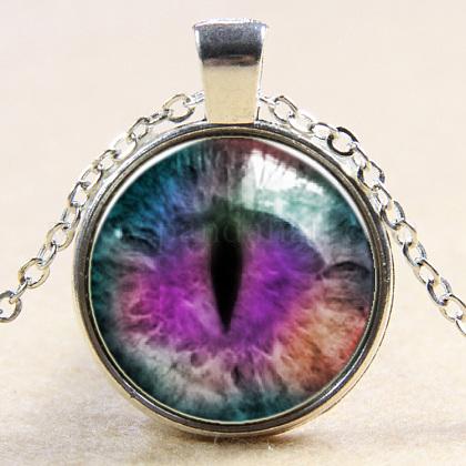 Collares pendientes de cristal con forma de ojo de dragónNJEW-N0051-007O-02-1