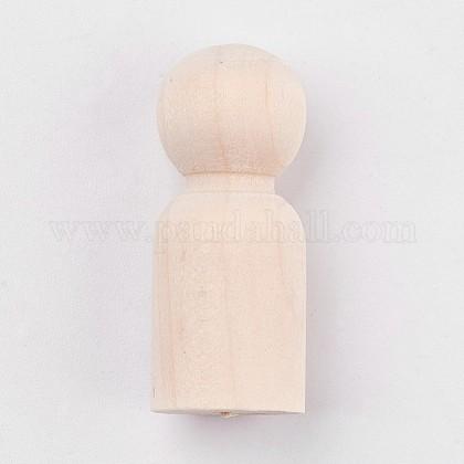 Madera sin terminar masculina clavija muñecas personas cuerposDIY-WH0059-09A-1