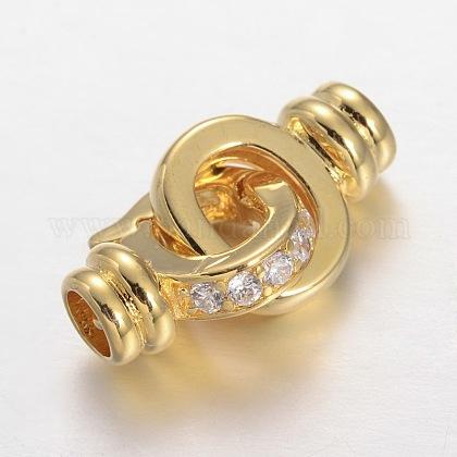真鍮マイクロは留め金を連動キュービックジルコニアを切り開きますZIRC-O018-05-RS-1