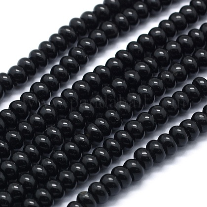 Synthetic Black Stone Beads Strands G-E507-24A-1