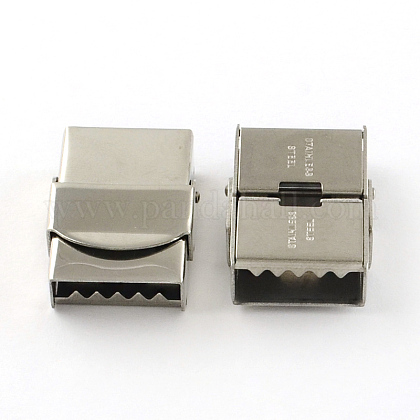 Smooth Surface 201 Stainless Steel Watch Band Clasps STAS-R063-84-1