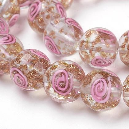 Handmade Gold Sand Lampwork Beads StrandsLAMP-L072-G10-1