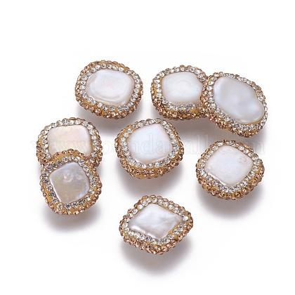 Perlas naturales abalorios de agua dulce cultivadasPEAR-F015-16-1