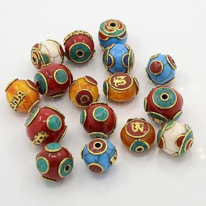 Abalorios estilo tibetano mixtas hechas a manoTIBEB-N001-28-1