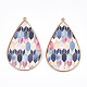 PU Leather Big Pendants, with Golden Plated Alloy Findings, Teardrop with Hexagon Pattern, Colorful, 58x37x3mm, Hole: 1.6mm