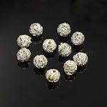 Perles en laiton de strass, Grade a, couleur argentée, ronde, cristal, 6mm, Trou: 1mm