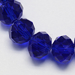 Handmade Imitate Austrian Crystal Faceted Rondelle Glass Beads, DarkBlue, 14x10mm, Hole: 1mm; about 60pcs/strand