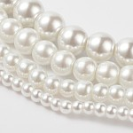 Abalorios de vidrio teñido de perla redondos, blanco, 4 mm / 6 mm / 8 mm / 10 mm / 12 mm, agujero: 1 mm; aproximamente 70~216 unidades / cadena