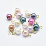 Encantos de perlas de vidrio de hierro, redondo, dorado, color mezclado, 13x8mm, agujero: 2 mm