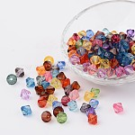 Faceted Bicone Transparent Acrylic Beads, Dyed, Mixed Color, 14mm, Hole: 2mm; about 320pcs/500g