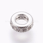 Brass Micro Pave Cubic Zirconia Beads, Lead Free & Cadmium Free, Flat Round, Clear, Platinum, 6x2mm, Hole: 3mm